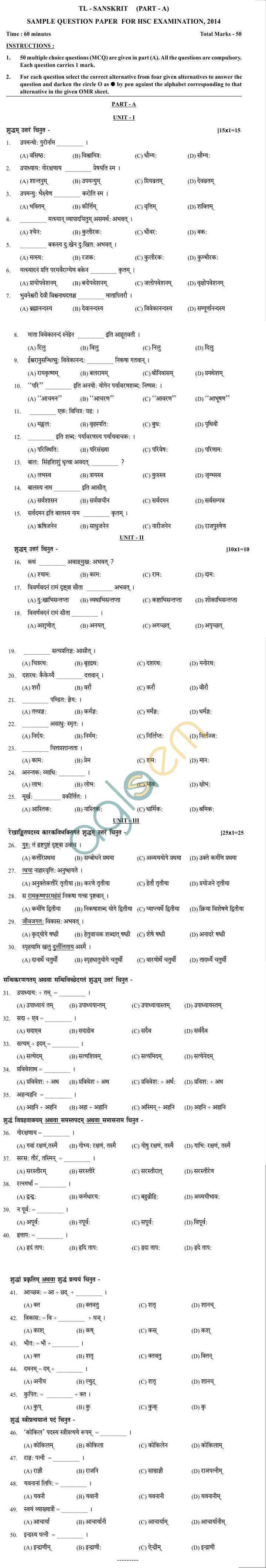 Odisha Board Sample Papers for HSC Exam 2014 - Sanskrit