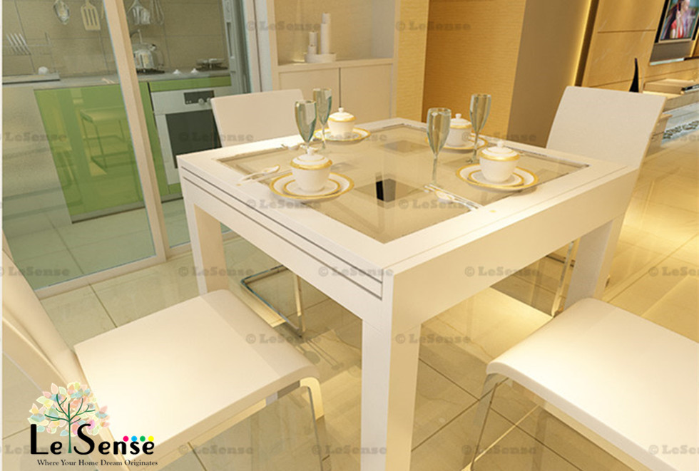 NEW High Gloss White Modern Extendable Dining Table Glass Top Dinning Furnitu