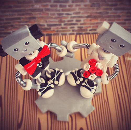Commission: Robot Wedding Cake Topper Bow Tie and Sneakers by HerArtSheLoves