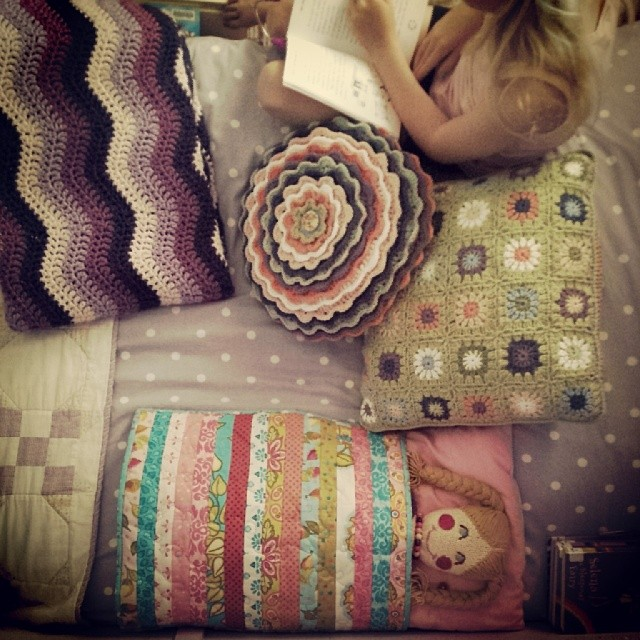 Bedtime ~ my girl loves her new pillows...... #crochet