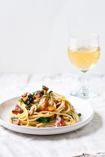 Sweet Potato and Spinach Carbonara