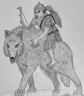 Dire Wolf with Goblin Rider