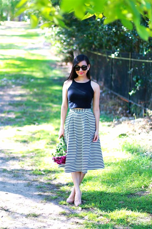 nicholas the label striped midi skirt