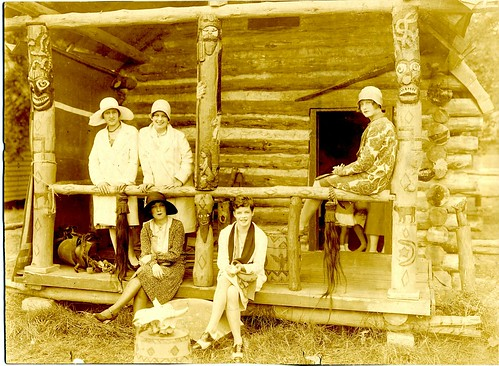 Women outside Bronco Charlie's Log Cabin