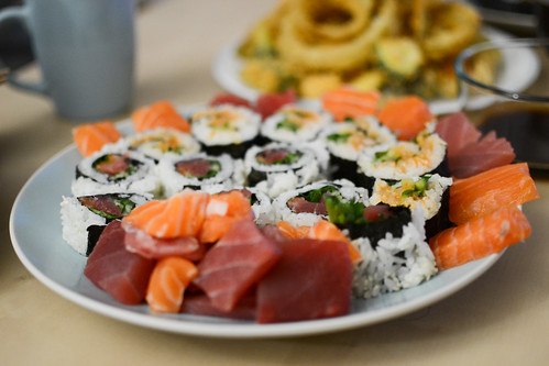 Sushi and sashimi spread