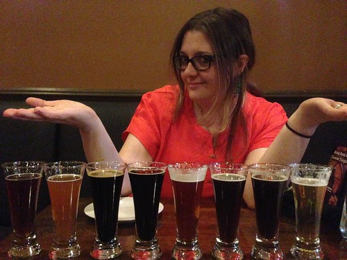 Jen with the Hopvine Beer Flight