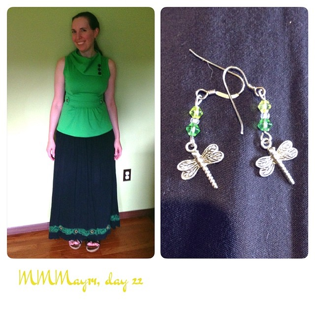 Me-made earrings, me-embroidered skirt, @ModCloth top. #mmmay14