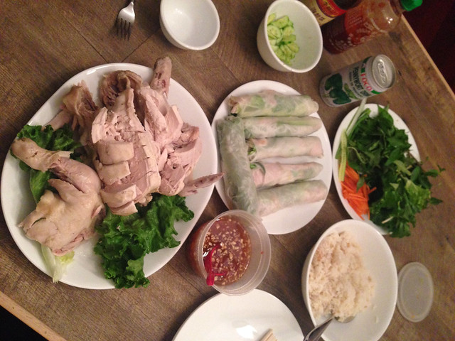 Poached chicken with rice and fresh Vietnamese shrimp rolls