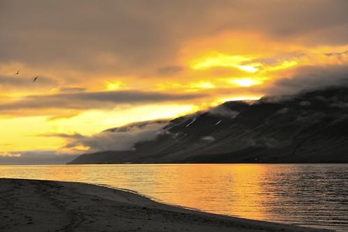 sunset sky sun reflection beach yellow iceland islandia day cloudy ísland islande vestfirðir westfjords fjara önundarfjörður holtsfjara