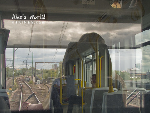 Tram's interior when leaving Cornbrook station