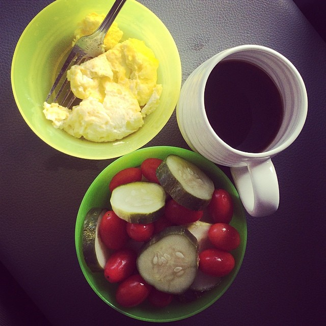 Day 4, #Whole30 - breakfast (micro egg with ghee, homemade pickles with cherry tomatoes, and black coffee)