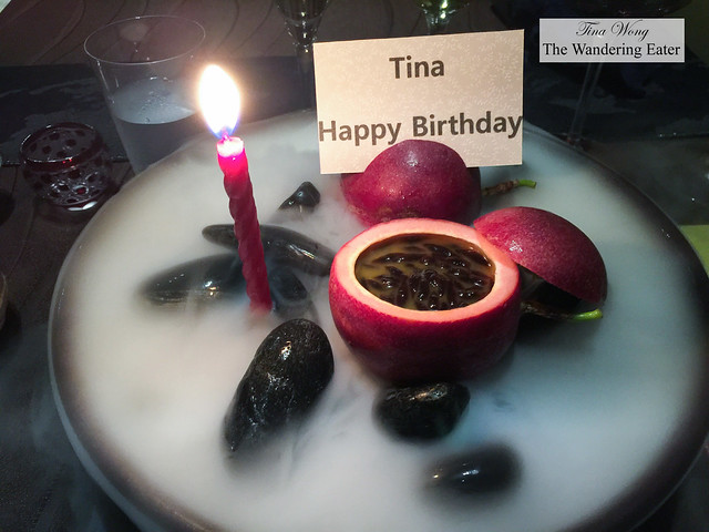 Birthday desert (I'd count it as course 11) - Passion fruit custard, homemade tapioca shaped like passion fruit seeds
