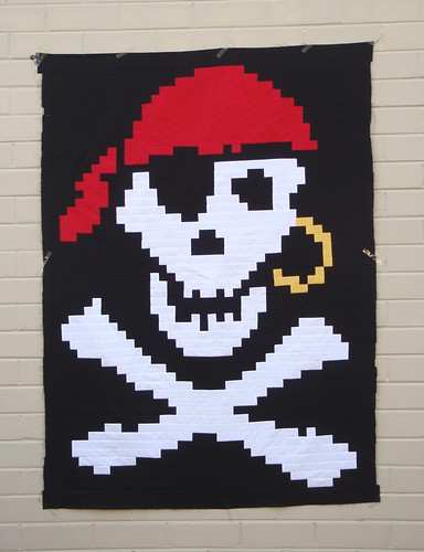 Jolly Roger Pirate quilt top
