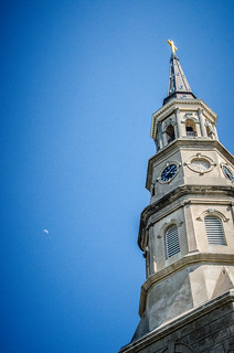 St Philips Church Steeple and Moon