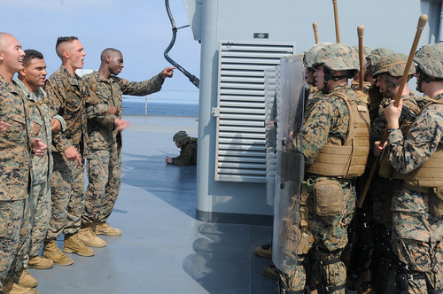 Marines assigned to Fleet Antiterrorism Security Team Pacific (FASTPAC) conduct non-lethal weapons training