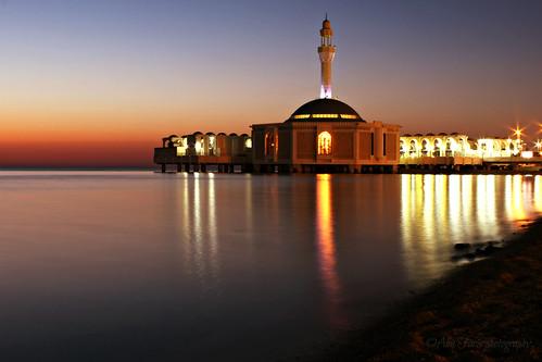 light sunset sea reflection building beach colors canon evening ngc mosque 1855 jeddah ksa مسجد الكورنيش السعودية 600d جدة جده