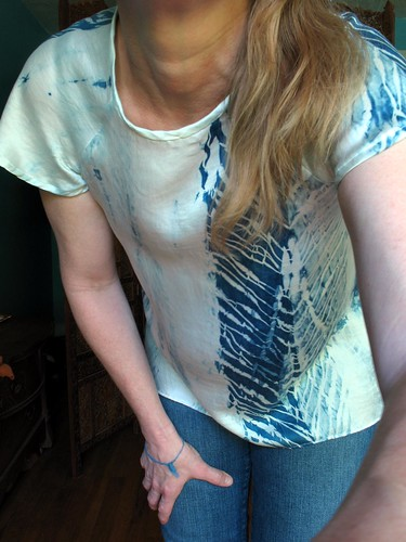 ndmade top from hand dyed shibori silk