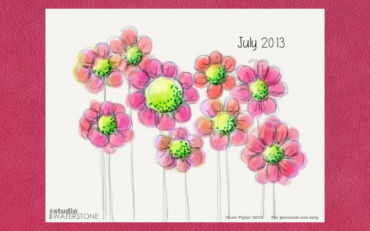 Pink Floral July Background