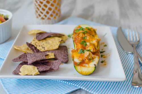 Pink Parsley: Chicken Enchilada-Stuffed Zucchini Boats