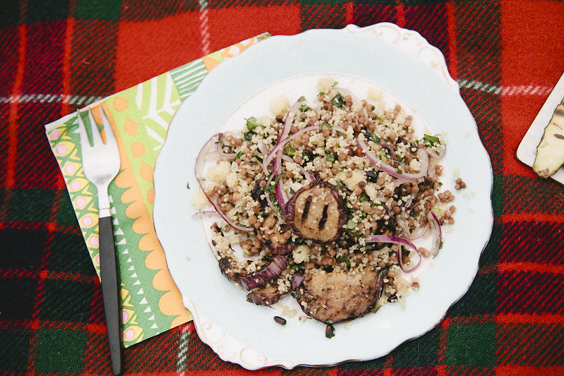 couscous salad with eggplant and herbs.
