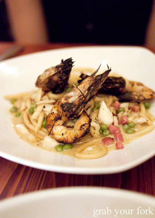 spaghetti with prawns and bacon at atchafalaya restaurant new orleans louisian