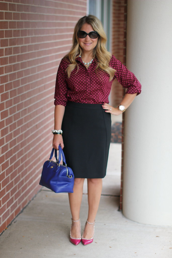 The Limited polka dot blouse work outfit idea