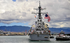USS Hopper (DDG 70) departs Joint Base Pearl Harbor-Hickam, Sept. 6. (U.S. Navy photo by Mass Communication Specialist Seaman Apprentice Rose Forest)
