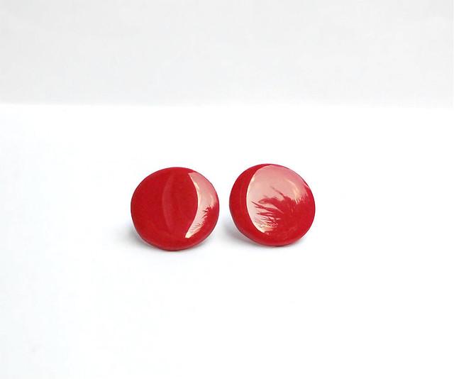 orecchini a perno xl rosso