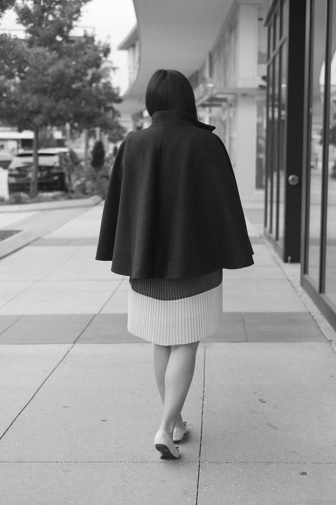 RWCo cape coat, Joe Fresh pleated dress, Vera Wang spiked flats