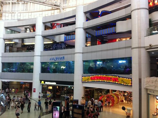 Vista exterior del acuario marino de Grandview Mall, en Guangzhou