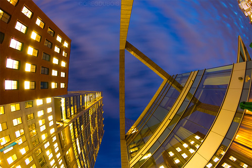 Boston Harborwalk Look Up at Intercontinental Hotel, Dawn Long Exposure by Greg DuBois Photography