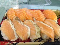 orange, salmon, salmon-like fish, fish, lox, produce, food, dish, cuisine,