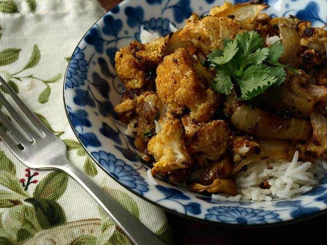 roasted cauliflower with curry and vinegar