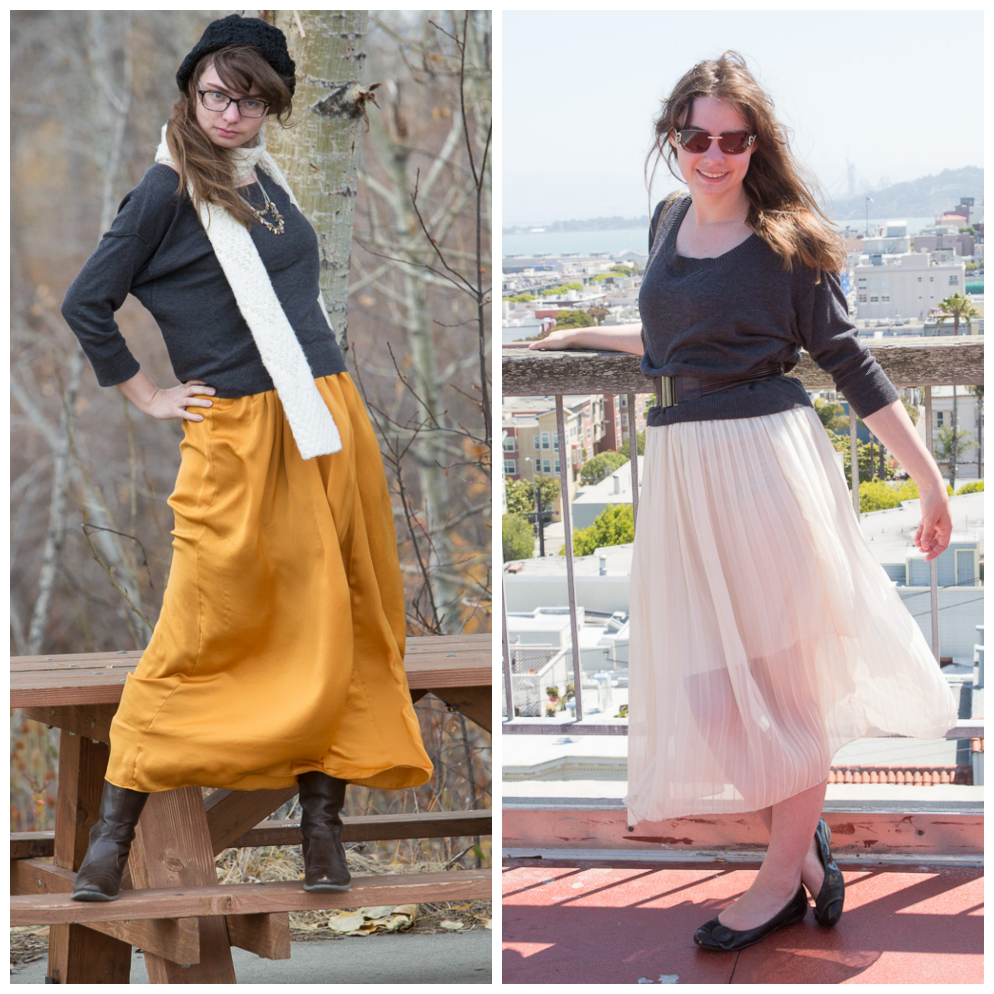 grey-sweater-remix, outfit, scarf, golden-skirt, white-skirt,