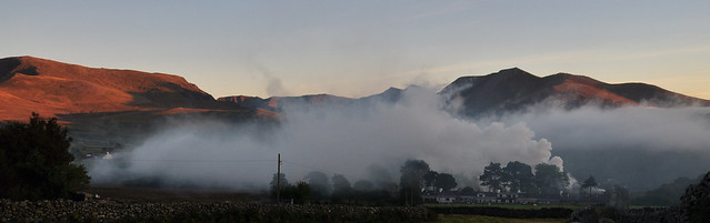 Evening light: Nant Francon with a mix of smoke and mist.