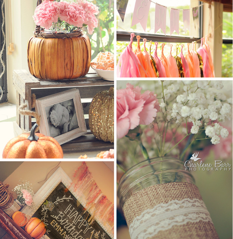 Rustic Pumpkins Pink Burlap Lace First Birthday Party