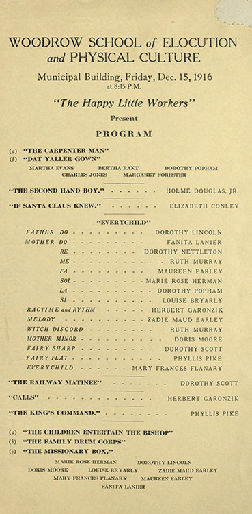Program, Woodrow School of Elocution and Physical Culture presentation, 1916