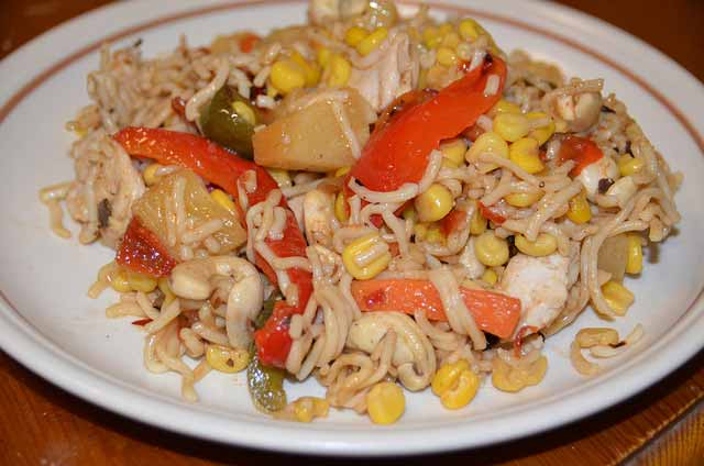 Special Stir Fry with chicken, pineapple, peppers, sweetcorn and noodles