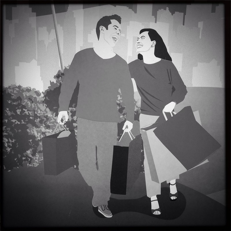A happy couple, shopping