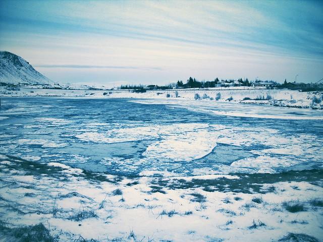 Icy river at Selfoss