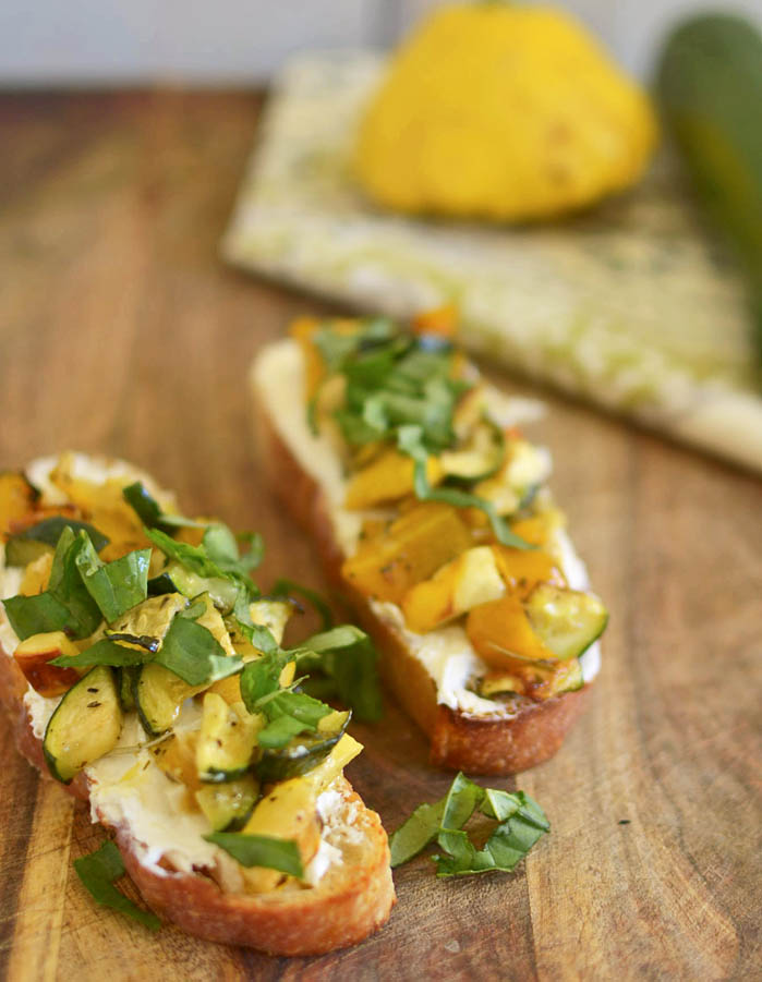 Roasted Vegetable Bruschetta via LittleFerraroKitchen.com