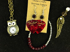 Guitar Pick Earrings and Red Bead Bracelet by Those Crafty Barnes Sisters