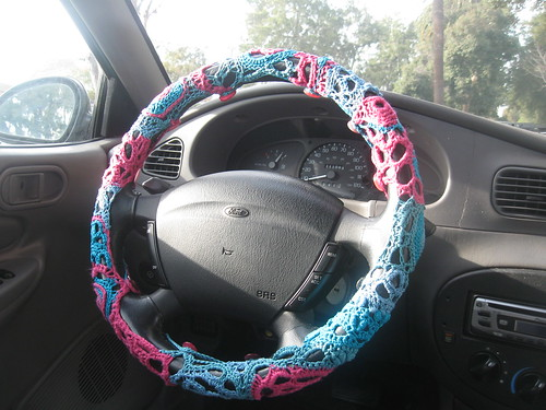 Freeform Crochet steering wheel cover