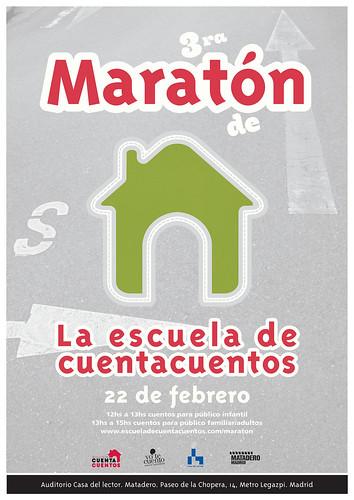 Cartel Maratón de La Escuela de Cuentacuentos en la Casa del lector