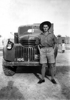 May 1942 - Australian Army Hunter Sparks with Tom's truck at El Kantara, Egypt