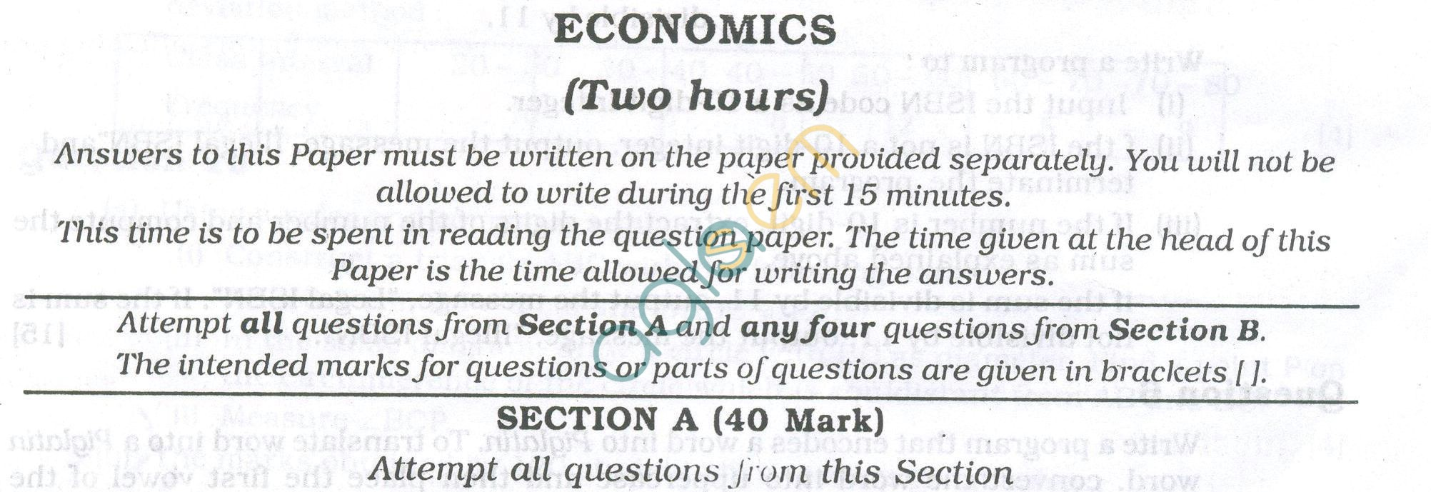 ICSE Question Papers 2013 for Class 10 - Economics