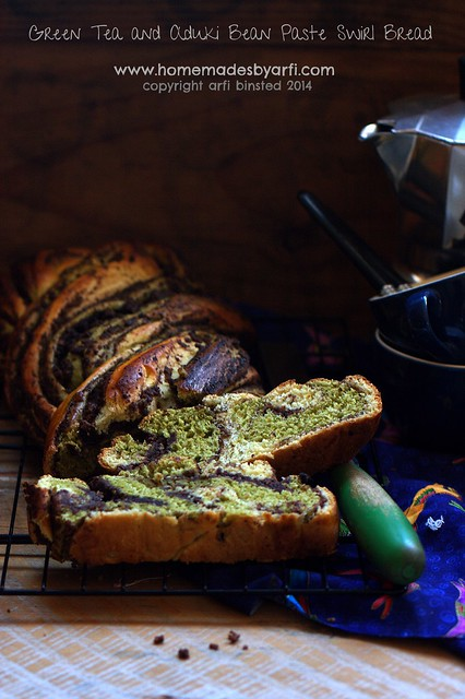 Green Tea and Aduki Bean Paste Swirl Bread