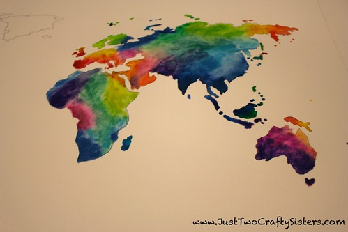 watercolor world map art