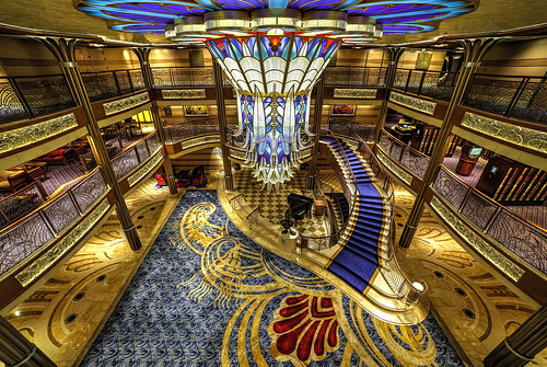 ocean voyage park cruise blue sea vacation vintage boat stair paradise ship dream disney line atlantic lobby deck chandelier staircase sail bahamas nassau hdr midship