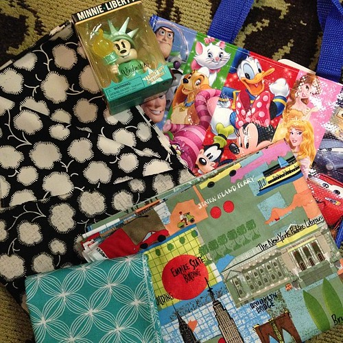 134:365 The spoils of my afternoon shopping in NYC. Figure I walked 4 miles getting to Mood, City Quilter, and the Disney Store. Now to figure out how to get my tired feet into heels and head off to dinner.